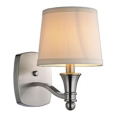 Hampton Bay Towne Collection 1-Light Brushed Nickel Wall Sconce with-EW1303SBA - The Home Depot $60