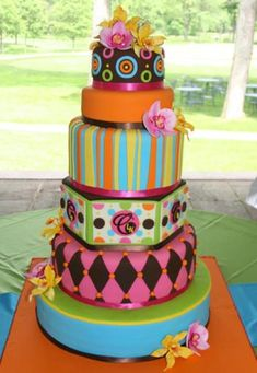 whimsical wedding cake for an outdoor summer wedding by The White Flower Cake Shoppe
