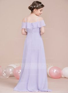 A-Line/Princess Off-the-Shoulder Asymmetrical Cascading Ruffles Zipper Up Spaghetti Straps Sleeveless No Other Colors General Chiffon Junior Bridesmaid Dress