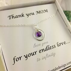Mother Gift, Infinity Necklace, Birthstone,