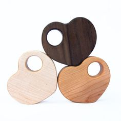 Wood Rattle Heart Rattle EcoFriendly Baby Toy by manzanitakids