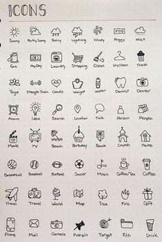Icon doodles for pretty bullet journal pages. Ideas for bullet journal icons. Bring your bullet journal or diary to life. Bullet Journal Inspo, Bullet Journal Headers, Bullet Journal Banner, Journal Fonts, Bullet Journal Aesthetic, Bullet Journal Notebook, Bullet Journal Ideas Pages, Bullet Journal Spread, Bullet Journal Layout