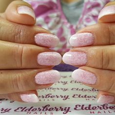 Wedding nails for a beautiful lady  #pink #frenchombre with #glittertips and#lace stamping  #ilac by @i.n.k_london in #i97 #holalola and #i54 #snowwhite with @artigliobysarahbland #glitter in #cameron and @bornprettystore #nailstamping  #babyboomers #lovemyjob #showscratch @scratchmagazine #gelpolish #pretty #weddingnails