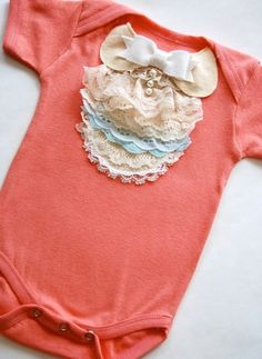 Cute ruffle onsie with bow and pearls - could modify for me