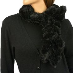 Super Soft Winter Faux Fake Animal Fur Furry Fuzzy Winter Scarf Neckwarmer Black SK Hat shop. $14.95