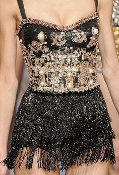 Glitzy Surfaces - shimmering black & metallic mix of lavish beads, sequins & jewels; embellished bodice; exquisite fashion details // The Blonds