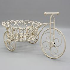 """17"""" Wrought Iron 3 Wheel Tricycle Bike Flower Cart Plant Stand Holder 6.5"""" Pot #Unbranded"""