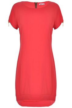 Wal G Isobel Zip Shoulder Shift Dress in Coral Wal G, Short Sleeve Dresses, Dresses With Sleeves, Coral, Zip, Shoulder, Clothes, Fashion, Outfits
