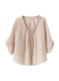 Macrame Blouse-beautifully macramed knotting trims the plunging v-neckline of this silky blouse, with cool tab-rolled sleeves, a cross-back detail and full, billowing fit.(lethimydung-fd1a1)