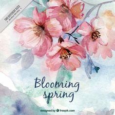 Flores primaverales bonitas de acuarela                              …