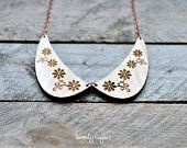 Wood Pendant collar with lace and floral ornament (laser cut )