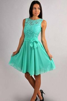 A Line Lace And Chiffon Aqua Green Bridesmaid Dresses With Belt Bow Crew Neck Knee Length Formal Dresses Engagement Prom Party Guest Gowns
