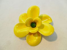 Vintage Yellow Enamel Brooch / Pin Large Chunky by KathiJanes