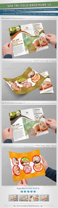 Spa TriFold Brochure | Volume 3 — Vector EPS #sensual #beauty shop • Available here → https://graphicriver.net/item/spa-trifold-brochure-volume-3/5031213?ref=pxcr