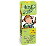 My First Brain Quest and thousands more of the very best toys at Fat Brain Toys. Join a little monkey named Max on his fun-filled day and watch your child's vocabulary blossom! Visit the zoo. Have fun at the circus. Celebrate holidays and learn all about animals. It's a game of questions in picture form that will help your child explore the world. 400 Questions to Build Your Toddler's Word Skills. Ages 2-3.