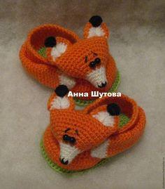 """Купить Пинетки """"Лисички"""" - комбинированный, вязание на заказ, вязаная игрушка, вязание для детей, пинетки"""