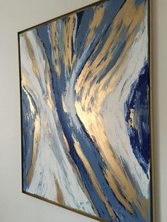 Abstract painting with gold, blue and white. Abstract painting for home decor. snow by vanessa peka french www. Diy Art Painting, Gold Leaf Art, Abstract Art Painting, Art Painting, Abstract Painting, Art Painting Acrylic, Art, Abstract, Canvas Painting