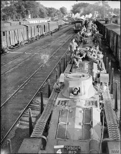Matilda Mk I tanks of 4th Royal Tank Regiment being transported by train from Cherbourg to Amiens, 28th September 1939