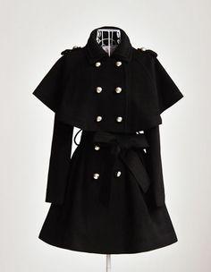Love this black caped trench coat!