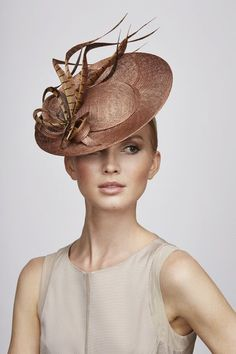 Juliette Botterill Pheasant Feather Percher HatFrom the Spring/Summer 2014 collection. Purchase Worn by Princ Millinery Hats, Fascinator Hats, Fascinators, Headpieces, Sinamay Hats, Stylish Hats, Kentucky Derby Hats, Church Hats, Fancy Hats