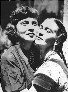 "Olga Campos (shown above with Frida), who first met Frida and Diego Rivera at Diego's birthday party in 1947. Campos soon became close friends with the Riveras. Campos was then a psychology student working on ""a book that would explore the relationship between emotion, color, and line"" and was performing interviews and psychological tests on artists to gather material. Kahlo agreed to be interviewed and tested over many months in 1949 and 1950."