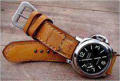 Gunny Hand-made leather watch straps with Panerai Luminor Marina Automatic Steel Watch Panerai Watches, Panerai Luminor, Men's Watches, Panerai 111, Cool Watches, Watches For Men, Panerai Straps, Bracelet Cuir, Beautiful Watches