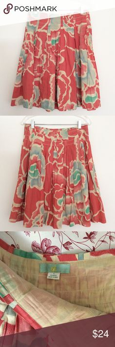 """Anthropologie Floral Print Skirt A lovely lightweight cotton skirt in muted raspberry and watercolor blue and green. By Anthropologie brand Lil. Fully lined, 100% cotton. Side zip closure. In very good used condition with no holes, tears, stains, or pilling.   Marked size 4  FLAT MEASUREMENTS: 14"""" waist Roomy hips 23"""" length Fully lined Anthropologie Skirts A-Line or Full"""