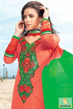 Red and green chiffon party wear Embroidery Salwar suit is fine with its elegant works like resham and multi thread embroidery. #partywearsalwarsuits #salwarsuits #embroiderysalwarsuits #designersalwarsuits #straightsalwarsuits #onlinesalwarsuits