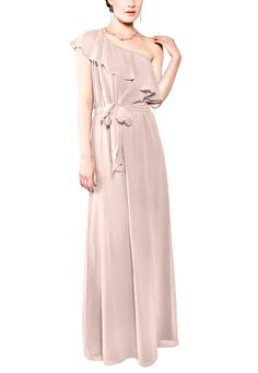 Joanna August 8th Ave Long is a full length, one shoulder bridesmaid dress with an asymmetrical ruffle, elastic waist, and a removable sash that can be tied in the front or back.  8th Ave Long is made of chiffon.