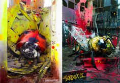 Street artist Bordalo II (or Bordalo Segundo) is a master of street art interventions. Not only from painting vibrant and colourful murals, but by creating incredible sculpture installations out of found or recycled materials. Amazing Street Art, Amazing Art, Photomontage, Transformers, Graffiti, Colossal Art, Animal Sculptures, City Streets, Street Artists