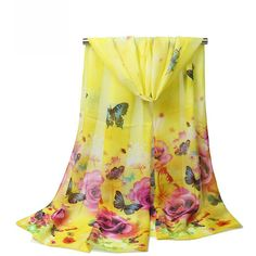 Butterfly Floral Printed Long Scarf (£7.45) ❤ liked on Polyvore featuring accessories, scarves, oblong scarves, butterfly scarves, floral print scarves, butterfly shawl and floral scarves