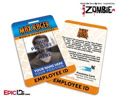 iZombie TV Series Inspired Max Rager Employee ID [Photo Personalized]