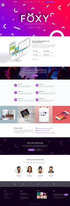 Foxy - Smart Webdesign PSD Template #gradient #minimal #modern design • Download ➝ https://themeforest.net/item/foxy-smart-webdesign-psd-template/19486455?ref=pxcr