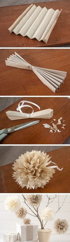 Tissue paper decorations. Super easy. Use several sheets of tissue paper. Fold it accordion style. Cut the ends to your desire. Then tie wire and string around the middle. Spread out both sides of the tissue paper and begin peeling up the layers and crinkling them, enjoy!