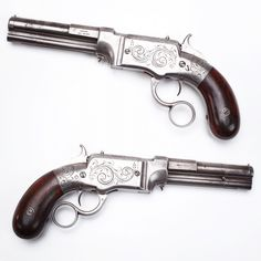 GUN OF THE DAY – Smith & Wesson Repeater. This Smith & Wesson pistol was made in Norwich, CT – a far cry from the later Springfield, MA factory location. Unlike the later metallic cartridge revolvers, this S&W pistol was a lever-action, chambered to shoot a .31 caliber projectile that held its propellant and primer inside itself. Only around 1,700 were ever produced. The GOTD also happens to be our earliest Smith & Wesson-marked gun.