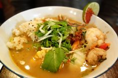 Ginger Shrimp, Blue Crab, Sweet Corn and Baby Bok Choy in Thai Coconut Broth with Sticky Rice at Lucky Rooster. New Orleans, LA. (Photo by Paul Broussard NOLA)