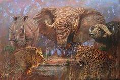 The Big Five of Africa. - Awesome photo. Love it.