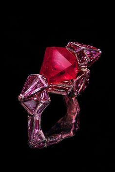 Ruby Castle ring by Wallace Chan (Hong Kong, Burmese hexagonal-shaped ruby, pink sapphire and titanium. Ruby Jewelry, High Jewelry, Pandora Jewelry, Stone Jewelry, Jewelry Art, Jewelry Design, Designer Jewellery, Jewelry Rings, Unique Rings