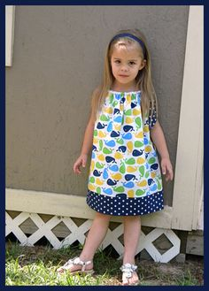 Custom Boutique Zoologie Whales Pillowcase Dress  --  3/6 months - 8 years