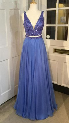 24f619def84 Two Piece Beading Long Prom Dress Semi Formal Dresses Wedding Party Dress  LP147