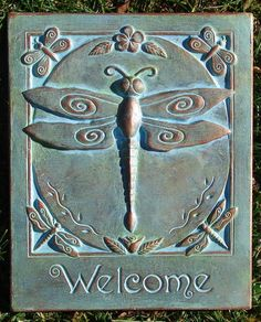 Concrete Dragonfly Welcome Garden Art Plaque by HarlandDesigns on Etsy www. Metal Garden Art, Concrete Garden, Garden Plaques, Dragonfly Art, Dragonfly Symbolism, Outdoor Paint, Clay Tiles, Arts And Crafts Movement, Yard Art