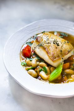 Sea Bass with Cannellini Bean Stew | Feasting At Home