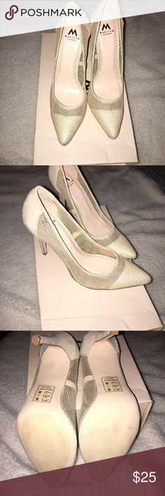 Madison brand new nude heel Nude heel with mesh design. Pointed toe makes shoe look very classy but also sexy. 4 inch heel. Size 6 1/2. Suede material. Only tried on once- other than that, never worn shoe. madison by shoedazzle Shoes Heels
