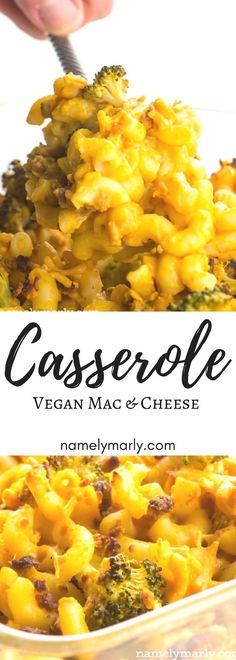 Grab your fork and dive into this creamy vegan Mac and Cheese Casserole. It's easy to make this recipe from scratch, with loads of cheesy sauce, veggie crumbles, and even broccoli florets. Just say no to dairy with this delicious vegan macaroni and cheese, and say hello to your new favorite go-to comfort food recipe! #namelymarly #vegan #plantbased #macandcheese #dinner #easyrecipe via @namelymarly