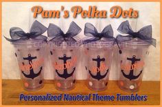 Personalized Clear NAUTICAL THEMED TUMBLERS with Anchor, Name or Wording, Beach Wedding Summer Vacation Poolside Gift