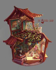 The Gourd Shop by Sharon Huang, via Behance Bg Design, Prop Design, Graphic Design, Environment Concept, Environment Design, Illustrations, Illustration Art, Isometric Art, Game Concept Art
