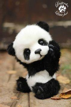 Panda bear Hugo handmade plush collectible artist stuffed teddy bear OOAK toy cute panda cub realistic teddy bear beas gift (made to order) - baby animals Cute Panda Baby, Baby Animals Super Cute, Baby Panda Bears, Panda Love, Cute Stuffed Animals, Cute Little Animals, Cute Funny Animals, Cute Cats, Baby Pandas