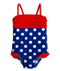 Look at this Blue & Red Ruffle Polka Dot One-Piece - Toddler & Girls on #zulily today!