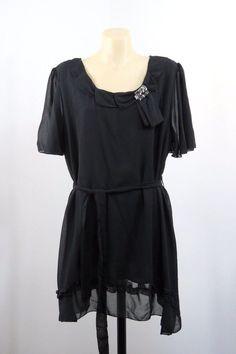 NWT Size XL 16 Elegant Ladies Black Tunic Top Brooch Cocktail Evening Design