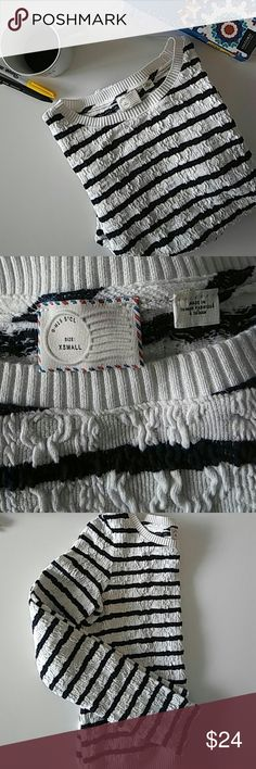 Anthro Sweater Black and white stripes with a fun chunky texture.  EUC Anthropologie Sweaters